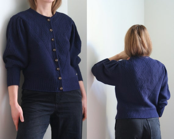 vintage puff sleeve cardigan wool/women/navy