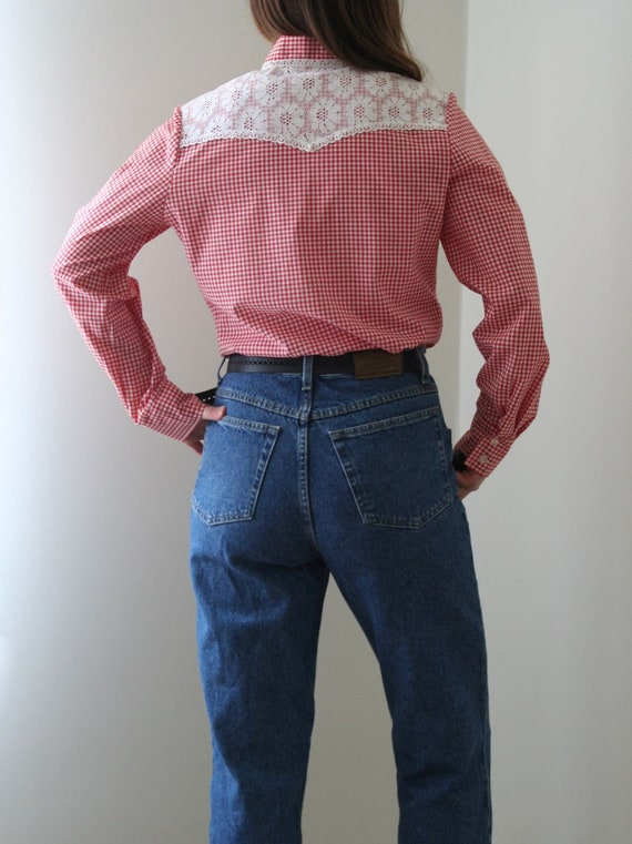 70s Vichy Statement Collar Blouse/Lace Collar/Cow… - image 4