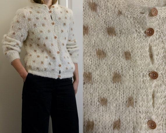 polka dot mohair cardigan/pockets/white wool hand-