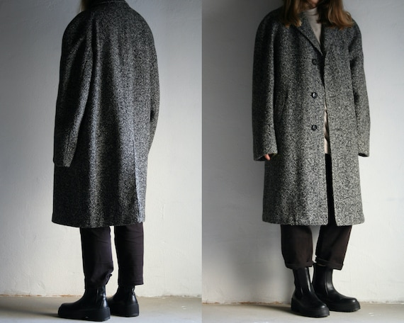oversized tweed raglan midi coat vintage/ gray woo