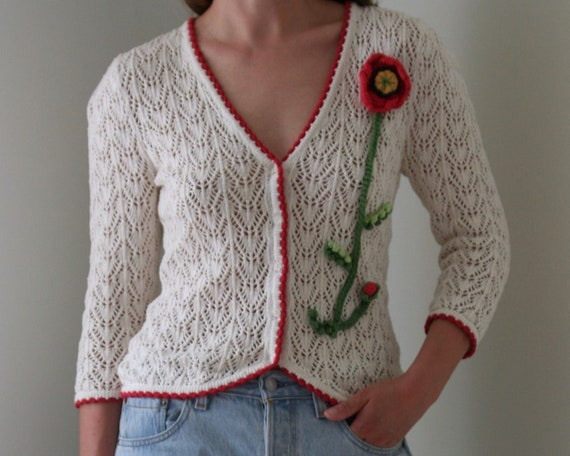 vintage white crochet cardigan women/puff sleeve/w