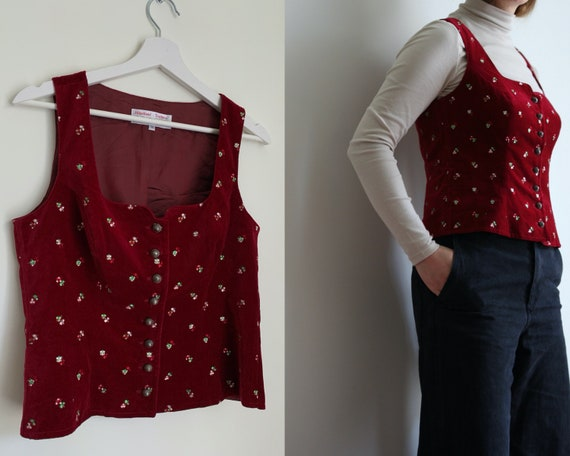 Embroidered Velvet Vest/Red Tyrolean Buttoned Tail