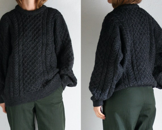 oversized cable knit sweater wool vintage/unisex/g