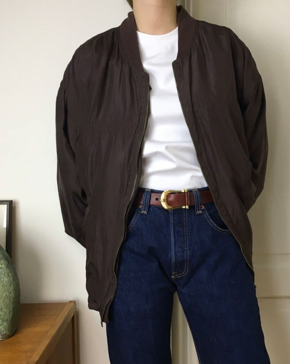 90s silk bomber jacket/oversized/unisex/brown bur… - image 3