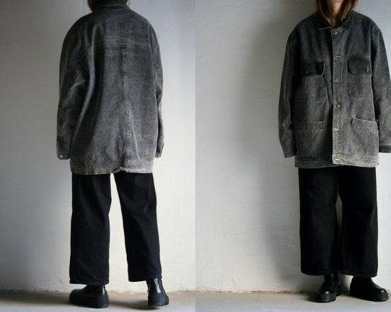 oversized gray denim work jacket vintage/corduroy