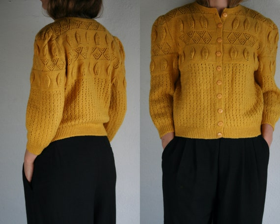 vintage puff sleeve cardigan wool/yellow/women