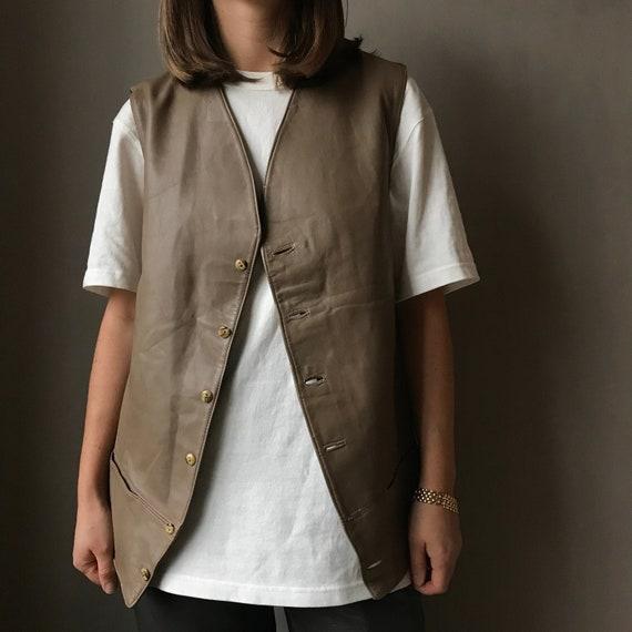 vest leather taupe / vintage leather vest / leathe