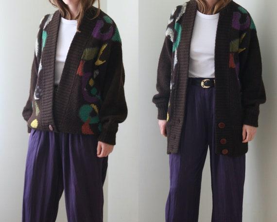 vintage cardigan wool oversized brown / vintage kn