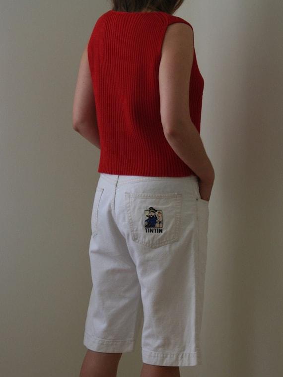 90s Tintin White Denim Bermuda Shorts/Vintage Flax