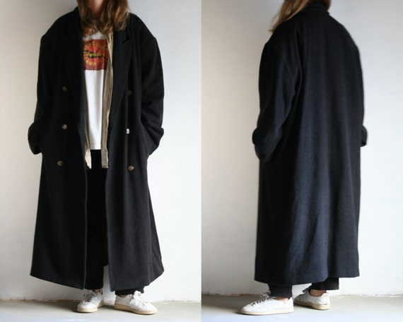 peak lapel maxi coat wool/oversized gray coat/doub