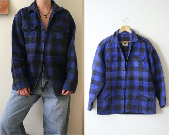 vintage checkered overshirt thick cotton unisex ov