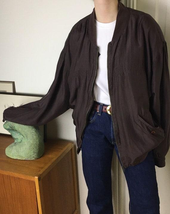 90s silk bomber jacket/oversized/unisex/brown bur… - image 2