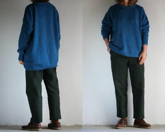oversized crew neck sweater wool vintage/turquoise