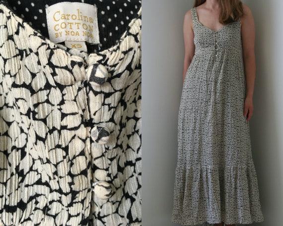 Noa Noa maxi floral sundress/gray wide strap dress