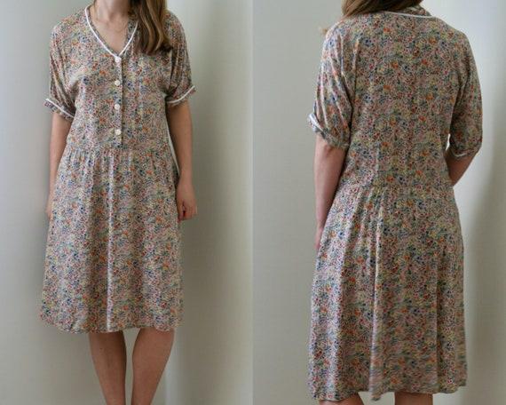 vintage short sleeve floral dress/viscose summer d