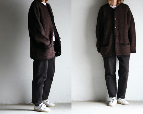 vintage oversized cardigan wool/burgundy/90s