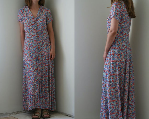 vintage maxi floral buttoned dress/viscose/vintage