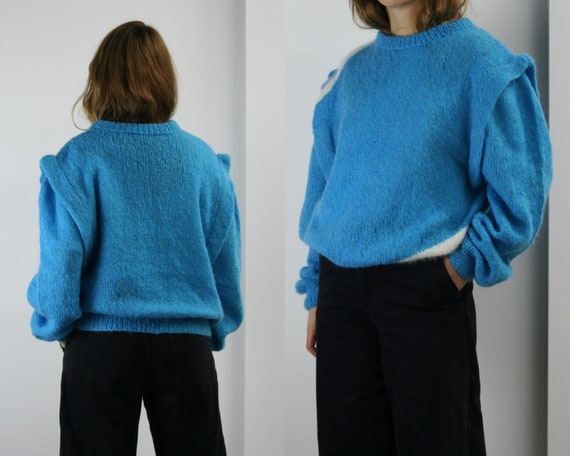 80s oversized mohair sweater/blue wool/hand-knit s