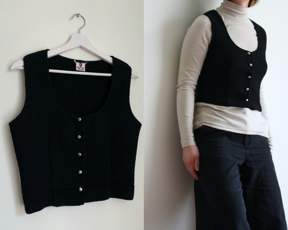 Cropped Buttoned Vest Wool/Black/Vintage