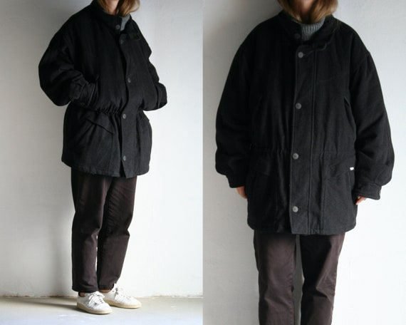 Vintage Oversized Wool Parka Coat Gray