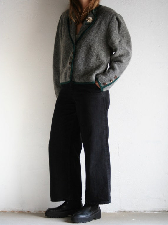 vintage puff sleeve cardigan wool/gray embroidery