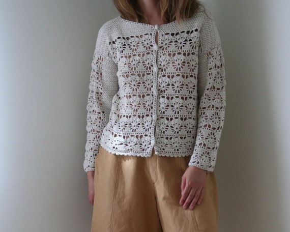 vintage beige crochet cardigan/natural beige summe