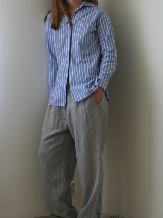 Vintage Marimekko Blue Striped Shirt/Women/XS/S/M