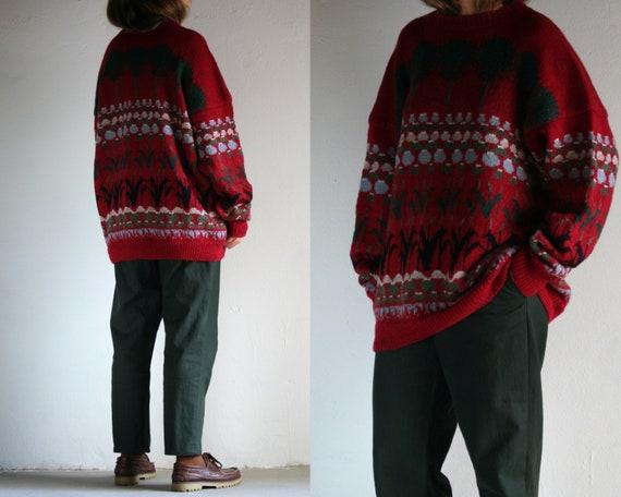 vintage novelty wool sweater oversized/unisex/red