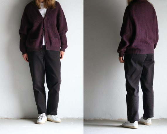 vintage cropped cardigan wool/burgundy/90s oversiz