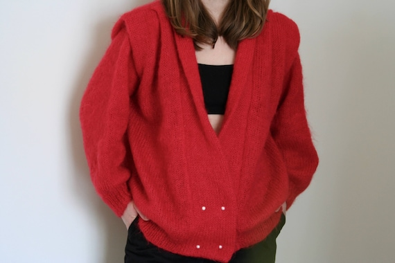 vintage puff sleeve cardigan mohair red