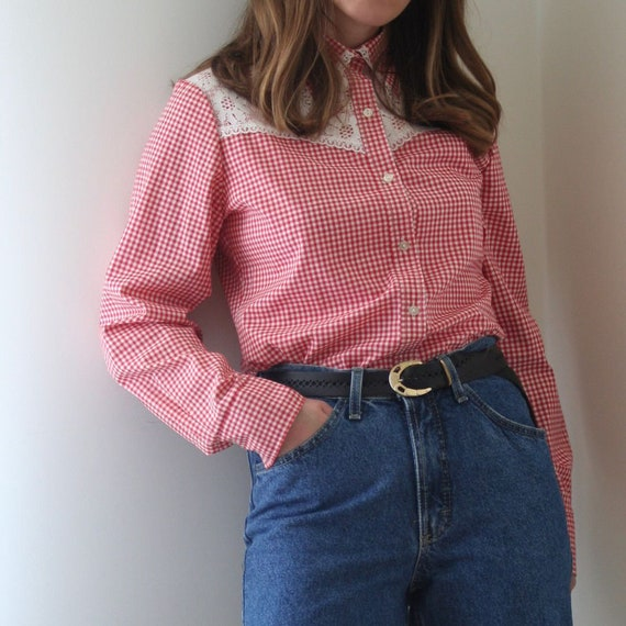 70s Vichy Statement Collar Blouse/Lace Collar/Cow… - image 5