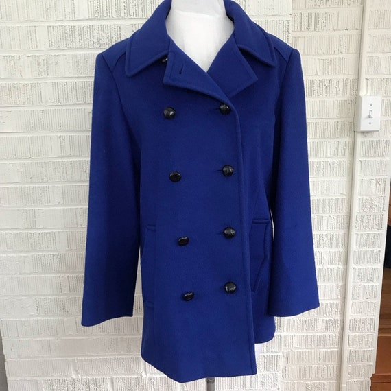 Vintage union made cobalt blue pea coat size 8
