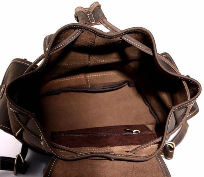 15 inch Dark Brown Genuine Grain Real Natural Leather for Women Men Backpack For College School bag Rucksack picnic bag Vintage Retro Style