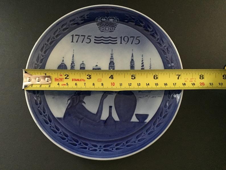 Vintage ROYAL COPENHAGEN DENMARK Porcelain Plate 1775-1975 Bicentenary Plate in Blue /& White