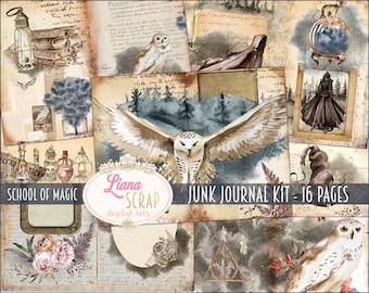 School of Magic Junk Journal Digital Kit Printable, Wizard Digital Collage Sheets, Magic Junk Journal