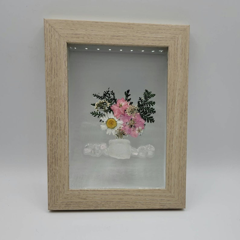 Flowers in Glass Frame Pressed Flowers handmade Gift for her Flower Sea Glass Art Dried Flowers