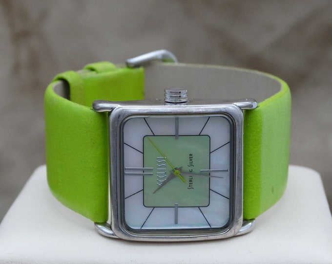 Featured listing image: Ecclissi Sterling Silver Watch with Lime Green Leather Band - Very Good Cond