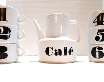 Waechtersbach Coffee Pot & 6 Numbered Interlocking Mugs - Black Numbers – Complete Set