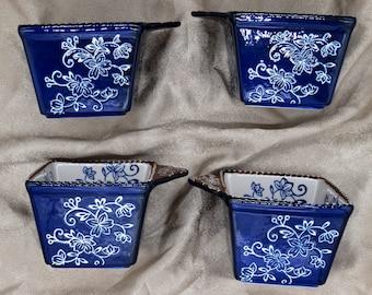 Temp-tations 4 Ramekin Bakers Presentable Ovenware by Tara - Dark Blue Floral Lace - Discontinued Pattern