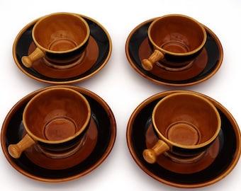 Valdemora Demitasse Pottery Tea Coffee Espresso Cup & Saucer Set of 4 – 8 pieces – Like New