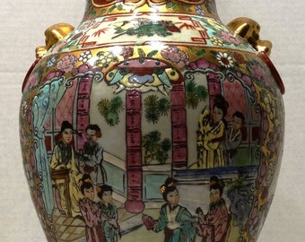 Vintage Macau Chinese Porcelain Vase with Hong Kong Hand Painted Enamel - 22 1/2 Inches Tall