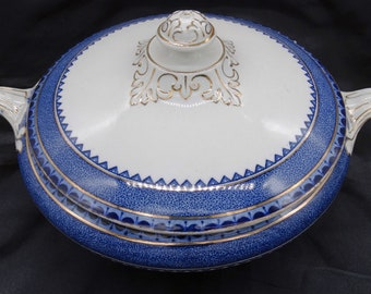 Wm Hulme Princess Blue Pattern Lidded Vegetable Tureen