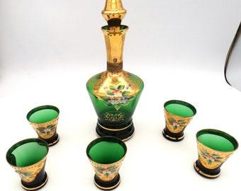 Vintage Hand-Blown Green Glass Decanter & Shot Glass Set