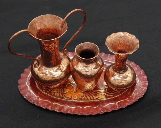 Featured listing image: Miniature Hand Hammered Copper Vases Set of 3 on Hand Painted Floral Tray