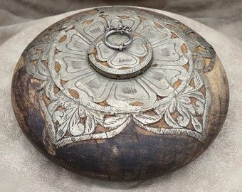 Vintage Wooden Tobacco or Opium Box with Hand Tooled Metal Inlay