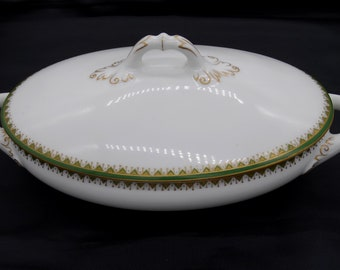 Early 1900s Royal Schwarzburg China Covered Serving Bowl - Gilt Gold and Green with Triangle and Heart Design