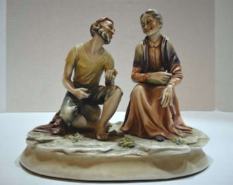 """A. Borsato Figurine - """"Sailor and Old Lady"""" - Exc Cond"""
