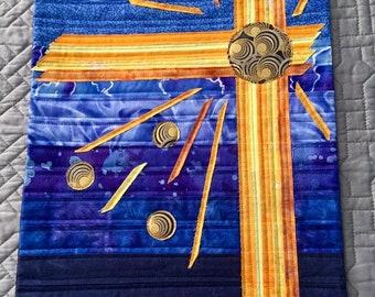 Blue Radiance - Textured Fiber Painting, Abstract Art, Fiber Art, Wall Hanging