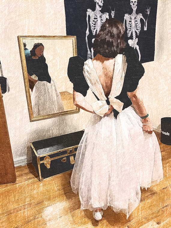 1980s Black and White Prom Dress - Velvet, Satin a