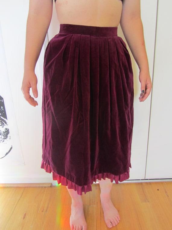 Lovely Wine Colored/Burgundy Velvet Skirt with Bea